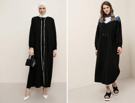 Alia Siyah Beyaz Fisto Detaylı Yakası Bağcıklı Elbise - Alia Siyah İndigo Beli Lastikli Garnili Elbise