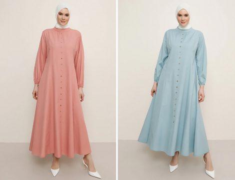 Alia Somon Boydan Düğmeli Elbise - Alia Soft Mavi Boydan Düğmeli Elbise