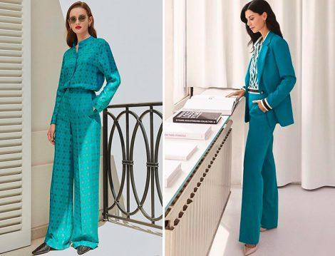 Escada İpek Fular Baskılı Bluz-Pantolon ve Ceket Pantolon Takım