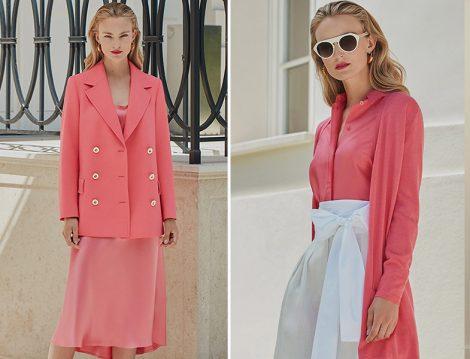 Escada Mercan Saten Elbise-Ceket ve Mercan Gömlek ve Hırka