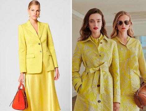 Escada Sarı Saten Etek ve Ceket Takım - Sarı Desenli Trençkot ve Takım