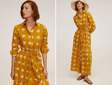 Mango Sarı Geometrik Desenli Uzun Elbise