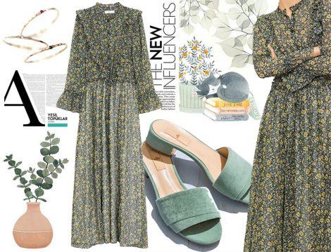 Tesettür Yeşil Elbise Kombini