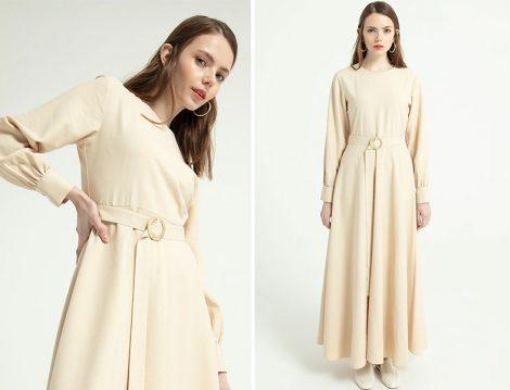 Touche Kemerli Kloş Elbise