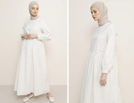 Beyaz Tesettür Elbise Modeli