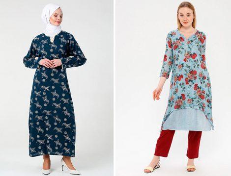 Elis Şile Bezi Baskılı Elbise ve Desenli Tunik