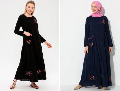Elis Şile Bezi Siyah ve Lacivert Nakışlı Elbise