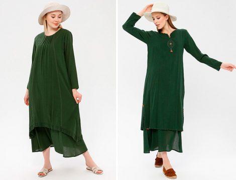 Elis Şile Bezi Yeşil Elbiseler