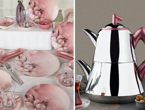 Keramika Yaz Gülü 19 Parça 4 Kişilik Kahvaltı Takımı - Emsan Kırmızı Harika Çaydanlık Takımı