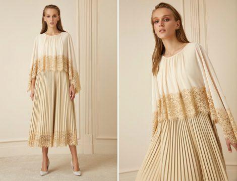 Tesettür Dantel Plise Elbise Modeli