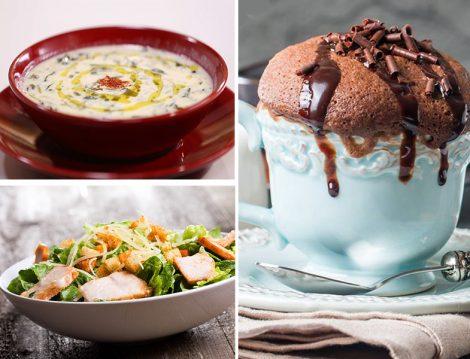 Yoğurtlu Semizotu Çorbası - Sezar Soslu Tavuk Salata - Glutensiz Sufle