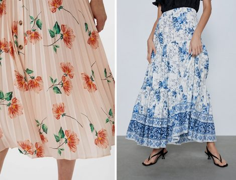 Zara ve Stradivarius Çiçek Desenli Pileli Etek