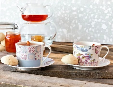 English Home Renkli Porselen 2'li Çay Fincanı Takımı