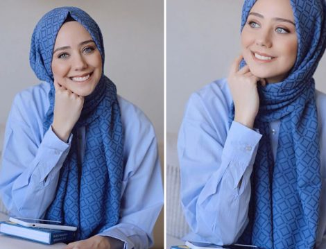 Mavi Tesettür Şal Modeli
