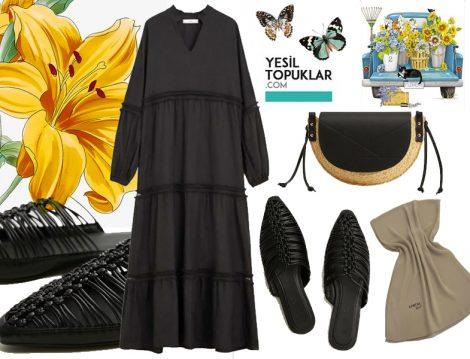 Siyah Tesettür Elbise Kombini