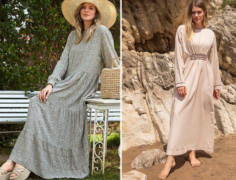 Alia Haki Doğal Kumaşlı Çiçekli Elbise - Alia Kum Beji Doğal Kumaşlı Beli Büzgülü Elbise