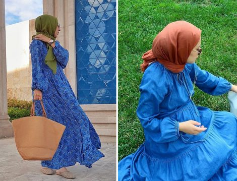 Atölye21 Mavi Giyçık Elbise - Bihter Koç, Manuka Kot Elbise