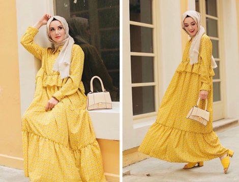 Aybike Tekstil Safran Desenli Pretty Mila Elbise