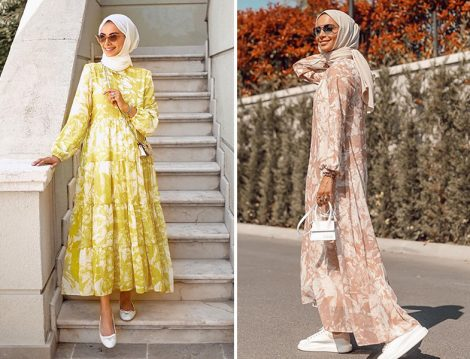 Betül Gedik - TERZİ DÜKKANI Pudra Çiçek Desen Kat Kat Şifon Elbise