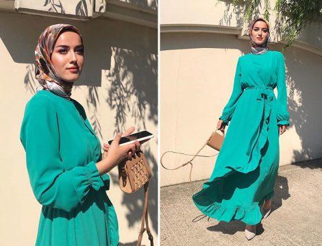 Eda Cömert - Armine Yeşil Volan Detaylı Elbise