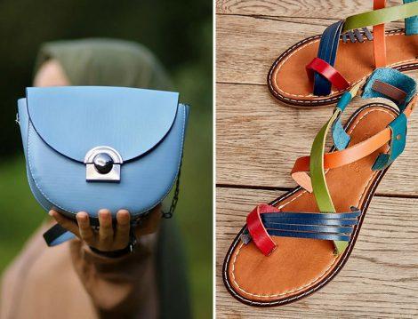 Gizce Mavi Omuz Çantası - Bambi Çok Renkli Hakiki Deri Sandalet