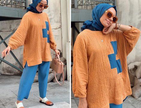 Hülya Aslan Qooq Store Mavi Turuncu Takım