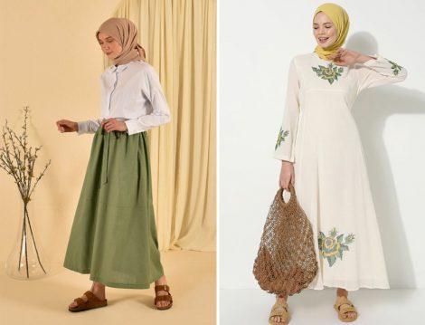HE-QA Yeşil Keten Etek - Elis Şile Bezi Krem Şile Bezi Nakışlı Elbise