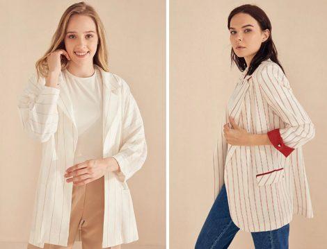 Kayra İnce Renkli Dikey Çizgili Beyaz Blazer Ceketler