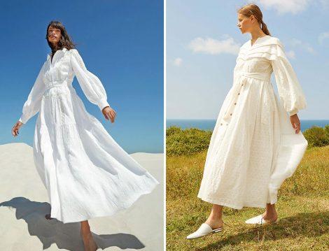 Kayra Beyaz Balon Kol Fisto Detay Elbise - Kevser Sarıoğlu Beyaz Midi Desen Brode Elbise