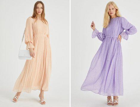 Manuka Desenli Plisole Elbiseler