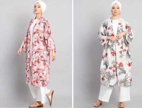 Modamelis Desenli Keten Kimono