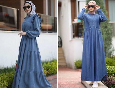 Neways Koyu Mavi Tensel Elbiseler