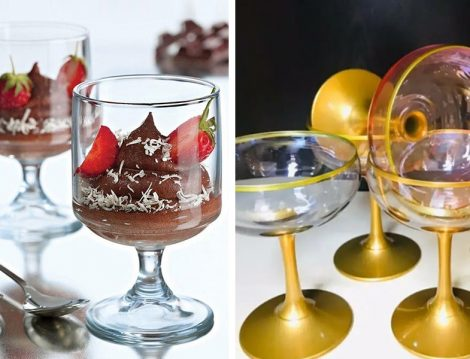 Paşabahçe Cam 6'lı Magnolia Dondurmalık, Paşabahçe Gold Detaylı Renkli 6'lı Dondurmalık Cup Kase