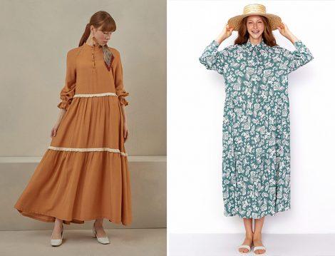 Qooq Store Camel Püskül Elbise - Vesna Yeşil Flora Yaprak Desenli Elbise