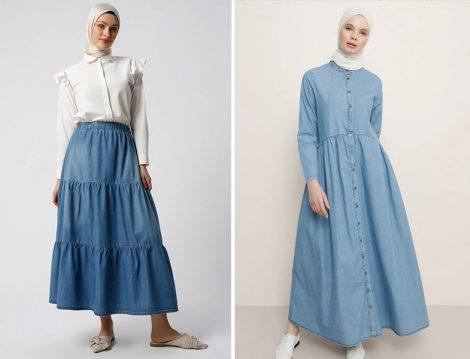 Refka Mavi Doğal Kumaşlı Beli Lastikli Kot Etek - Benin Mavi Boydan Düğmeli Kot Elbise
