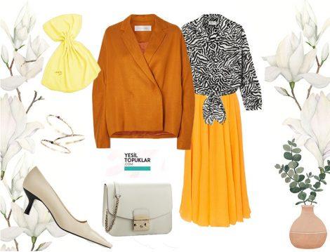 Sarı Etek, Safran Rengi Keten Ceket ve Zebra Desen Bluz Kombini
