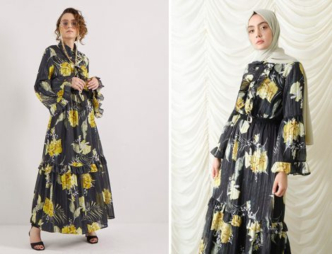 Suud Collection Sarı Çiçekli Elbise