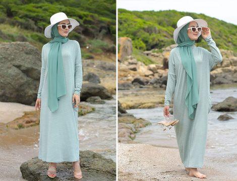 Tofisa Mint Yeşili Tesettür Elbise
