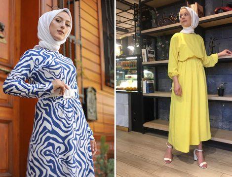 Tofisa Saks Tesettür Elbise - Rasedesign Sarı Uzun Elbise
