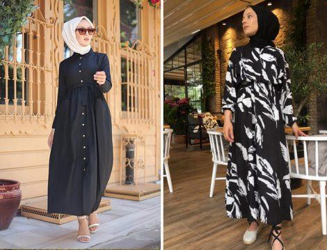 Tofisa Siyah Tesettür Cepli Elbise - Rasedesign Siyah Beyaz Elbise