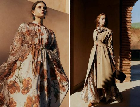 Zühre 2020 Yaz Desenli Elbise ve Trençkot