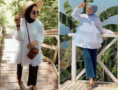 Elif Doğan & Beyza Canpolat Büzgülü Beyaz Tunik - Sena Sever & Touche Fırfırlı Beyaz Gömlek