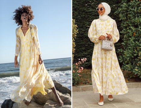 Eywasouls Malibu - TERZİ DÜKKANI Sarı Yaprak Samba Elbise(Betül Gedik)