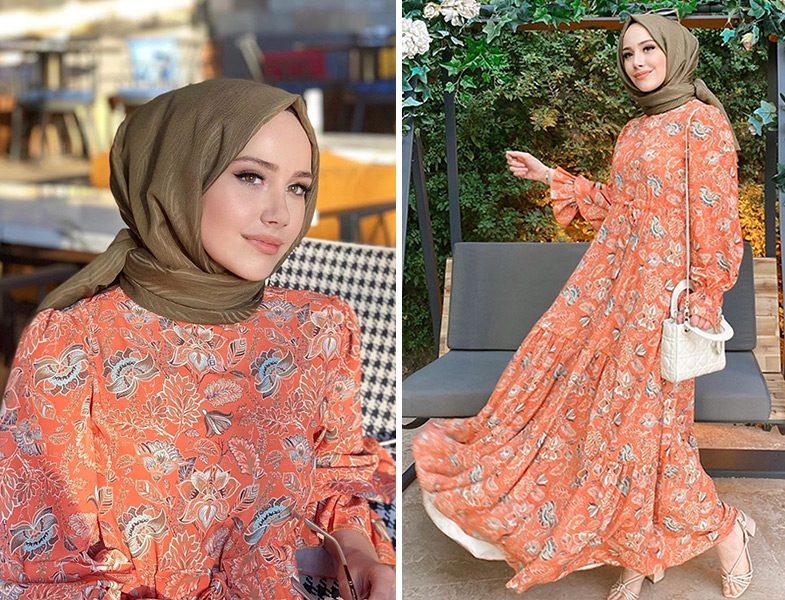 Feyza Hakyemez Başar - Kadriye Baştürk Desenli Elbise & Qef Yeşil Keten Şal