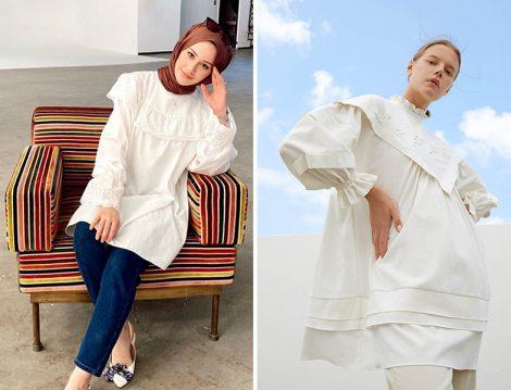 Feyza Hakyemez&Manila Beyaz Gömlek - Kevser Sarıoğlu Kolları Lastikli Yaka Kısmı Brode Detaylı Fistolu Tunik