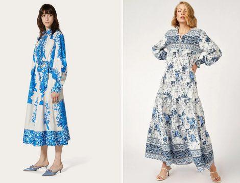 Valentino Elbise - Bigdart Kol Büzgülü Robalı Desenli Keten Elbise