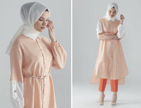 Zühre Oranj-Ekru Kemerli & İşleme Detaylı Tunik - Zühre Oranj Pantolon