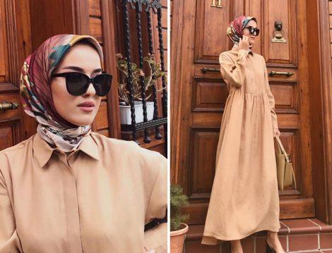 Armine Camel Çanta Aksesuarlı Elbise - Eda Cömert