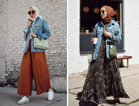 Elif Doğan'ın GAP Kot Ceket ile He-qa Pantolon ve H&M Elbise Kombinleri