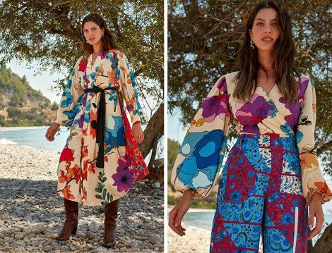 LC Waikiki & Oopscool Ekru Baskılı Çiçek Desenli Kemerli Kimono ve Kruvaze Yaka Bluz